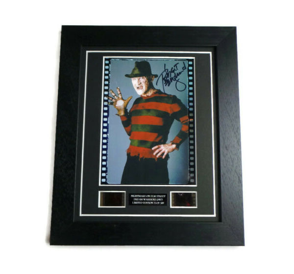 A NIGHTMARE ON ELM STREET 3: DREAM WARRIORS FRAMED FILM CELL PLAQUE WITH PRE-PRINTED ROBERT ENGLUND AUTOGRAPH