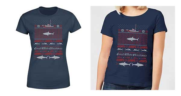 JAWS Great White Christmas Navy Women's T-Shirt