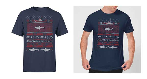 JAWS Great White Christmas Navy Men's T-Shirt