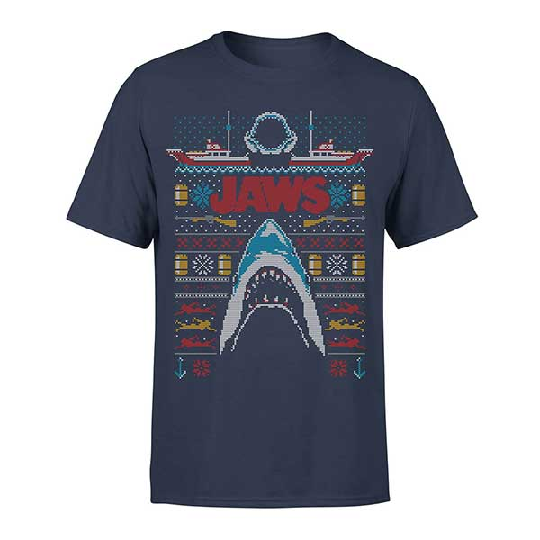 JAWS Great White Christmas Navy Men's T-Shirt (Design 2)