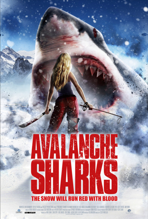 sharks snowslide into first trailer for avalanche sharks